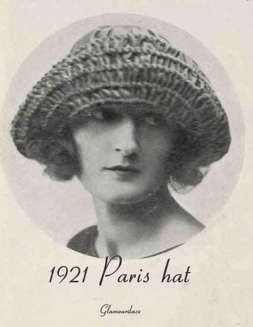 A charming wide brim bonnet for the early 1920s bobbed hair cut