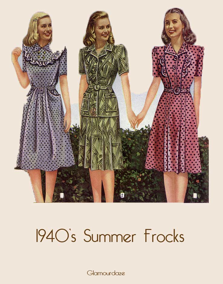 1940's Designer Clothing For Women s summer frocks