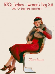 1930s-Fashion---Womans-day-suit-and-fur-stole