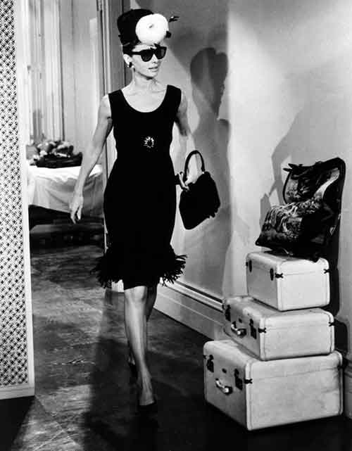 Hubert Givenchy fringed little black dress worn by audrey hepburn