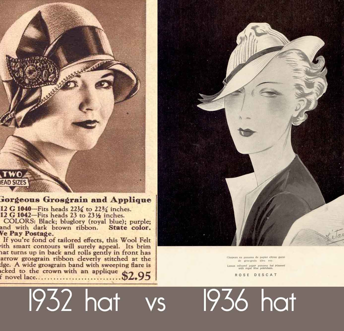 1930s Hats Women http://glamourdaze.com/history-of-womens-fashion