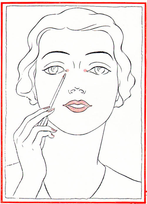 1930s-Makeup-Techniques---The-Platinum-Blonde-Look---rouge-dots-on-eye-corners