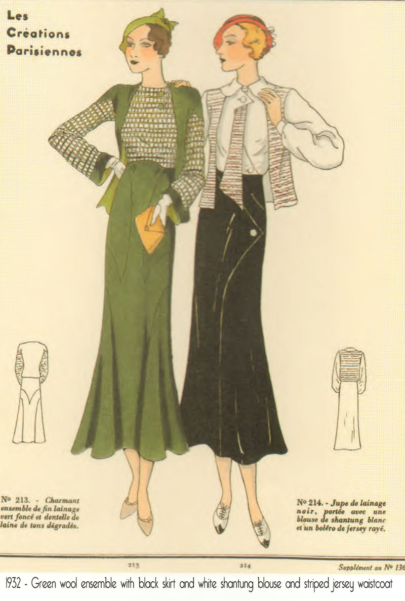 1930 Line drawing of Women's Wear winter 1930 fashion coat. Colouring-in picture