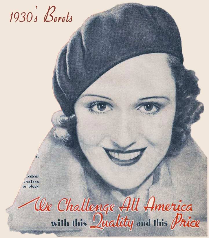 1930s Fashion -The French Beret replaces the Cloche. 9cc546ffb57