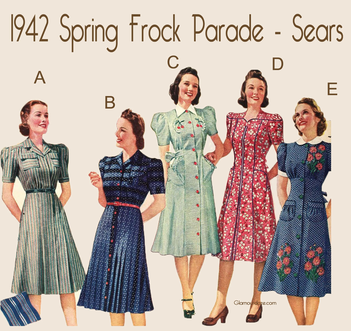 1940s spring dresses glamourdaze. Black Bedroom Furniture Sets. Home Design Ideas