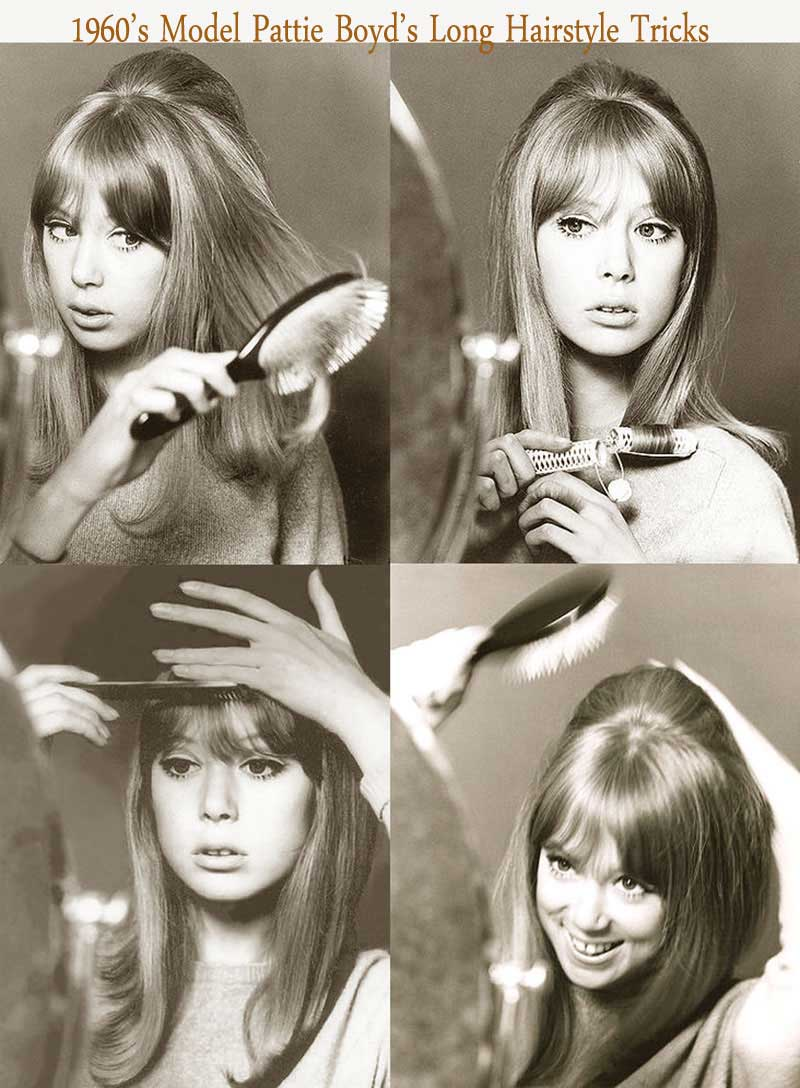 1960's hairstyles for long hair - Pattie Boyd