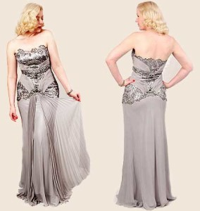 "Silver Beaded Sequined Lace Chiffon ""Old Hollywood Glamour"" Gown."