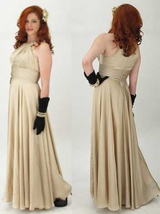 1940s Inspired Champagne Jewel Neck Halter Style Full Skirt Evening Gown.