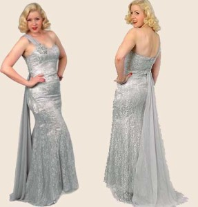 Silver Lace Satin Chiffon One Shoulder Glamour Gown.