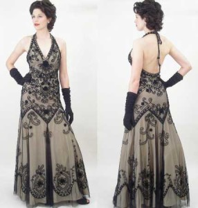 Glamorous Embroidered Black Tulle over Champagne Halter Evening Gown.