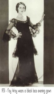 1931-Fay-Wray-in-black-lace-evening-gown