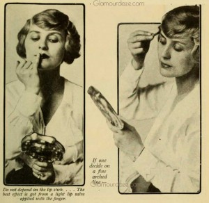 History-of-Makeup---A-Lady's-Beauty-Routine-in-1916 - Applying makeup