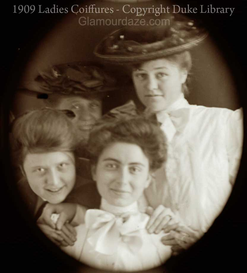 Women Show The Latest Pompadour Hairstyles 1909 Glamour Daze