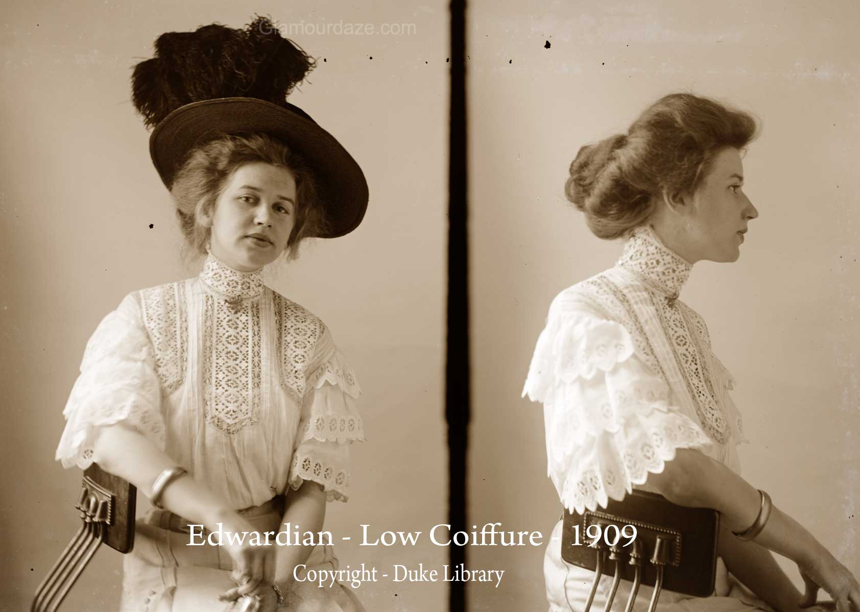Women show the latest pompadour hairstyles -1909 | Glamourdaze