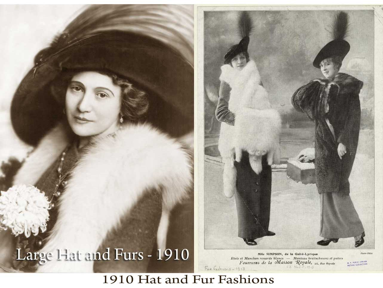 Fashion 1910 to 1920 - 1910s Hat And Fur Fashions
