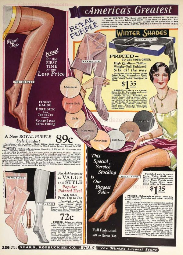 Sears catalog - 1920's stockings and hosiery