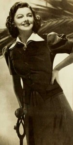 1940s-fashion---Myrna-Loy--shirt-and-flannel-skirt