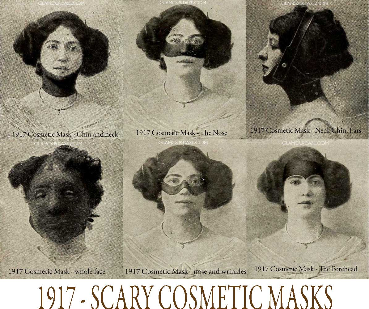 Scary Cosmetic Masks from 1917 | Glamourdaze