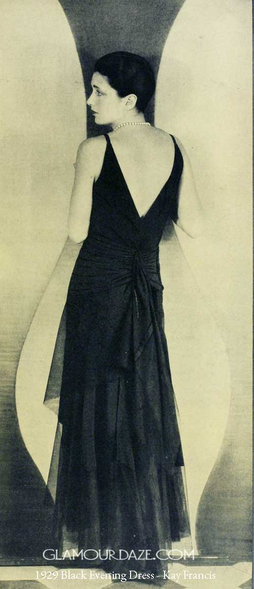 1920s Formal Wear Women 1929-black-evening-dress---kay