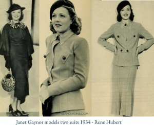 4-Janet-Gaynor-models-two-1930s-suits---Rene-Hubert-designer