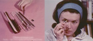 Vintage-1960's-Makeup-Tutorial-Film10---tweezing-eyebrows