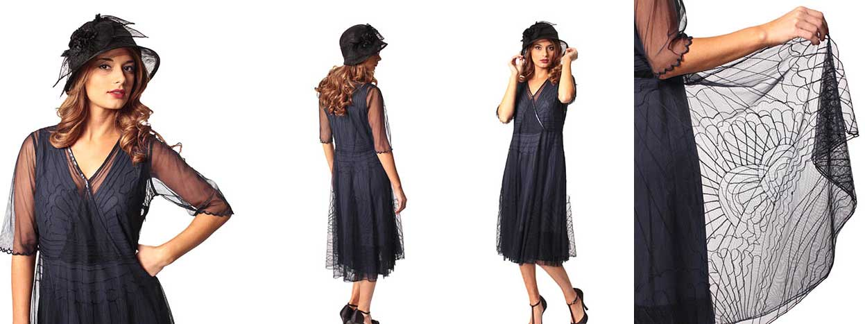 1 Embroidered Navy Blue Tulle 20s Style Party