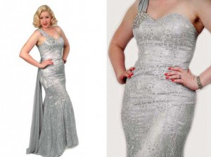 2-Silver-Lace-Satin-Chiffon-One-Shoulder-Glamour-Gown