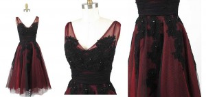3-1950s-Style-Red-Black-Tulle-Tea-Length-Party-Dress