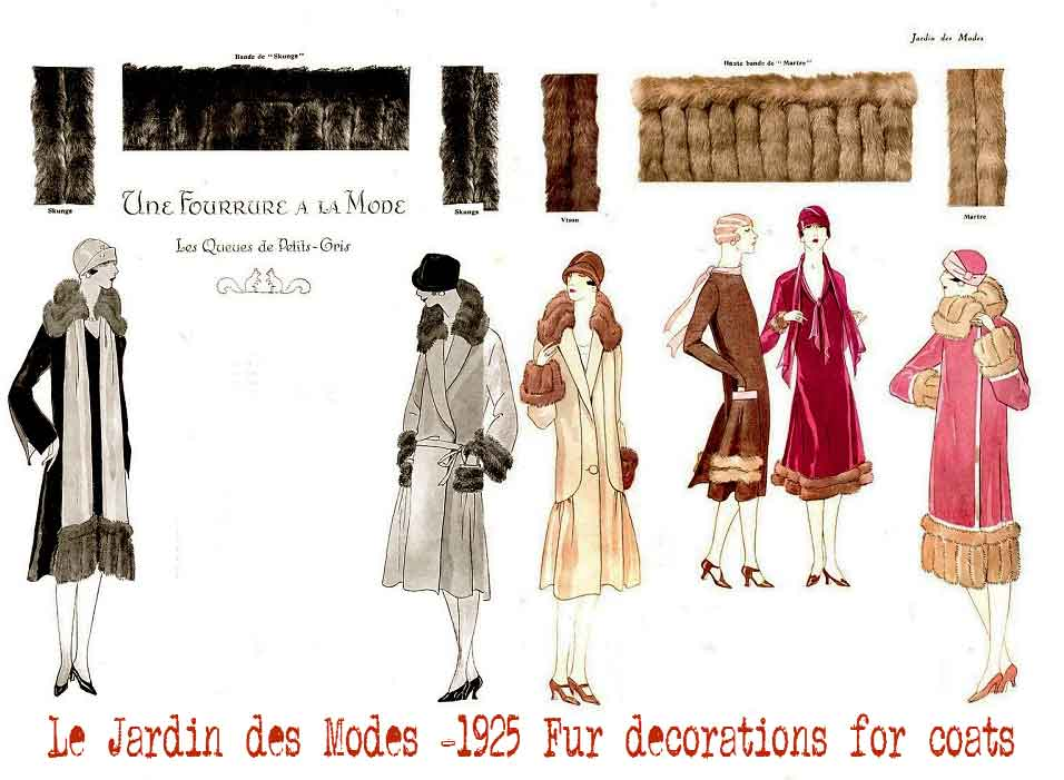 1920s fashion - Le-Jardin-des-Modes--1925-Fur-decorations-for-coats