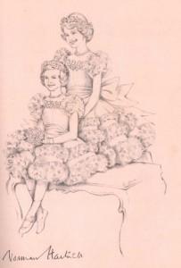 Norman-Hartnell---Sketch-of-Princess-Elizabeth-and-Margaret