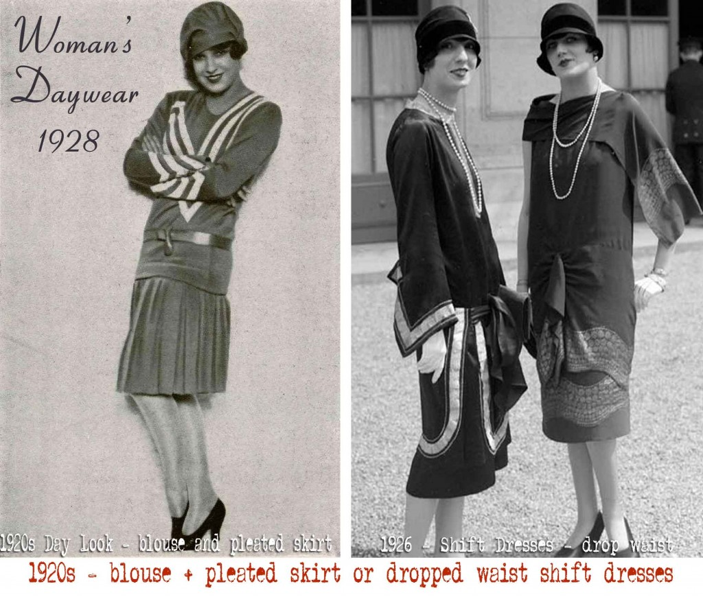 1920s fashion - blouse + pleated skirt or dropped waist shift dresses