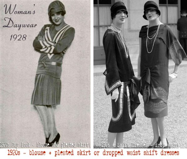 1920s - blouse + pleated skirt or dropped waist shift dresses