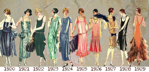 1920's formal dresses - 1920 to 1929 timeline