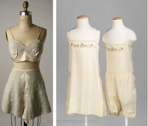 1920s fashion lingerie -Embroidered-silk-tap-pants-and-bra---Met-Museum