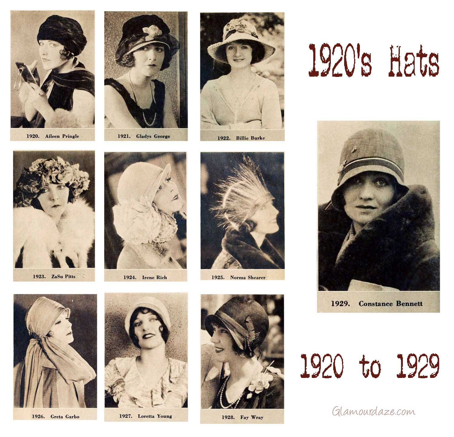 1920's hats -Cloche Hats Timeline - 1920 to 1929