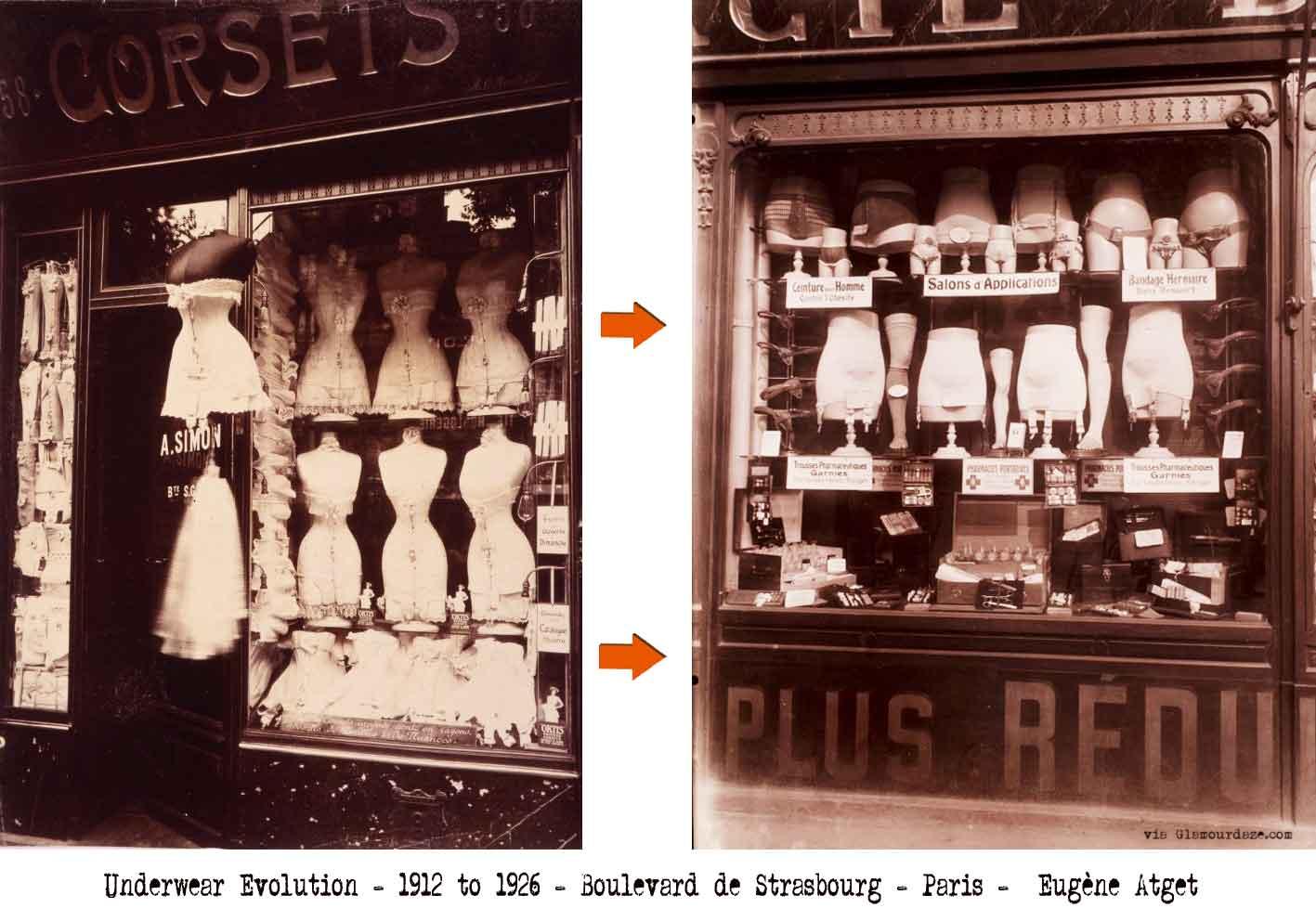 Two photographs of corset shops taken in the fashionable Boulevard de