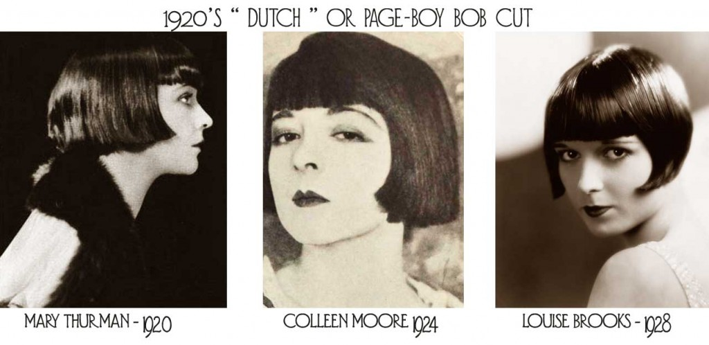 1920's Dutch Bob hairstyle - Mary Thurman, Colleen Moore and Louise Brooks