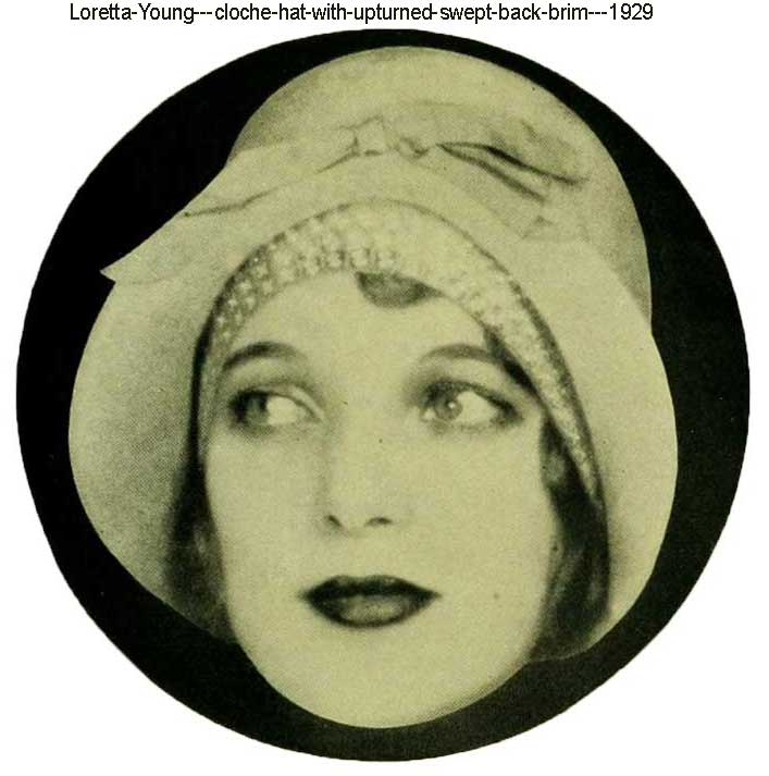 Loretta-Young---cloche-hat-with-upturned-swept-back-brim---1929