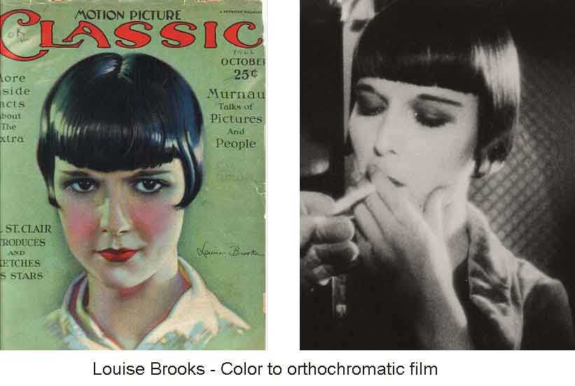 Louise Brooks Color To Orthochromatic BW Film