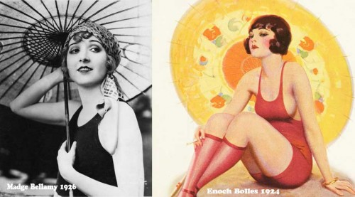 1920s fashion swimwear -parasols
