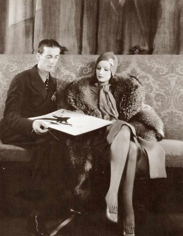 1920's fashion - Gilbert-Adrian-with-Garbo