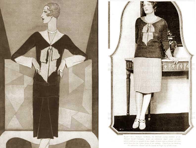 1920s fashion - elsa schiaparelli-trompe-l'oeil-sweater-1927-vogue