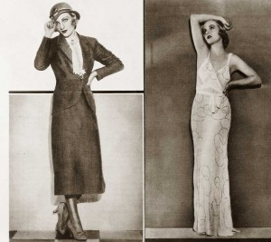 1930s-Fashion---Carole-Lombards-Wardrobe-in-June-1932---steel-gray-suit-and-evening-gown