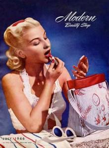 Modern beauty shop - lipstick on the beach July 1946