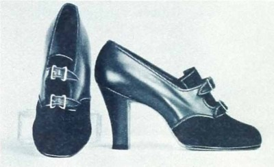 3-1930s-fashion---Ginger-Rogers-Favourite-Shoes-in-1936-brown-calf-suede-pumps
