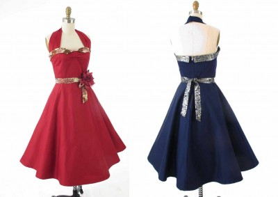 1950s-style-Stretch-Sateen-Halter-Swing-dresses