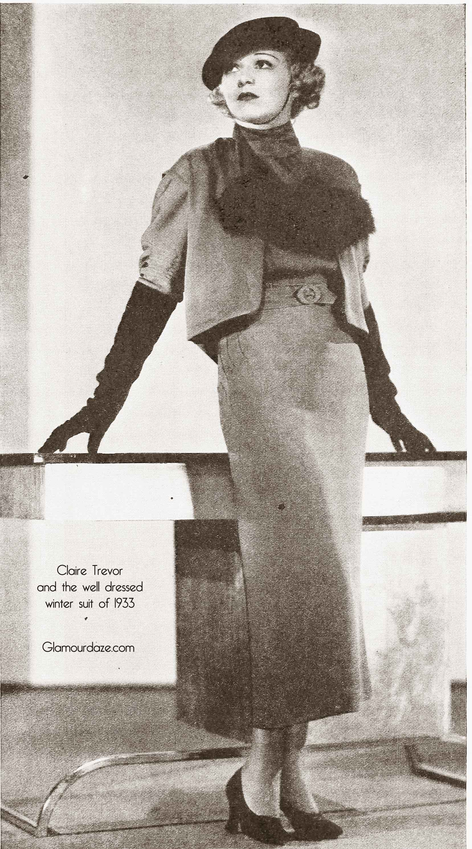 1930s Fashion  Claire Trevors well dressed winter suit - 1930 Hairstyles