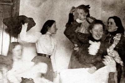 Cumberland-Valley-State-Normal-School---College-Girls-Pillow-Fight-1906