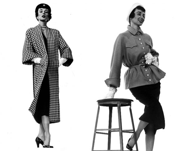 The gamine style of 1950. Model Dorian Leigh. Checks and shirtwaists