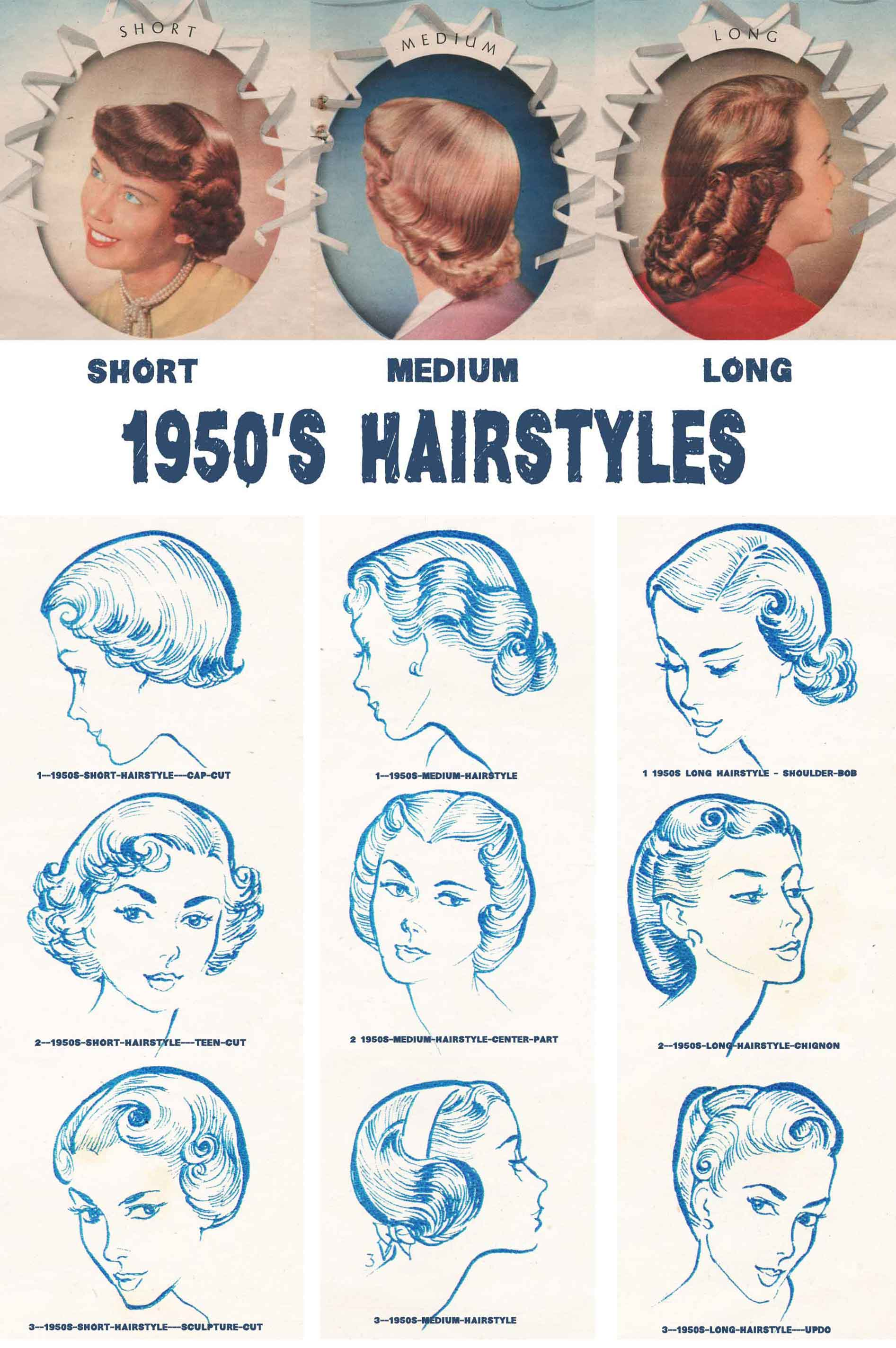 1950s hairstyles chart for your hair length glamourdaze. Black Bedroom Furniture Sets. Home Design Ideas